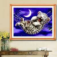 44x33cm DIY Cross Stitch Kit Embroidery Baby Tiger Home Decor